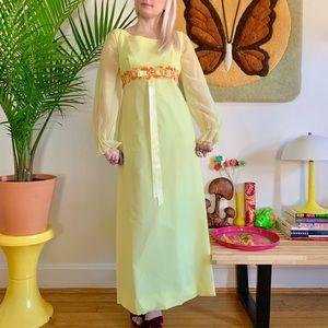 Mod 1960s yellow formal dress sheer poet sleeves